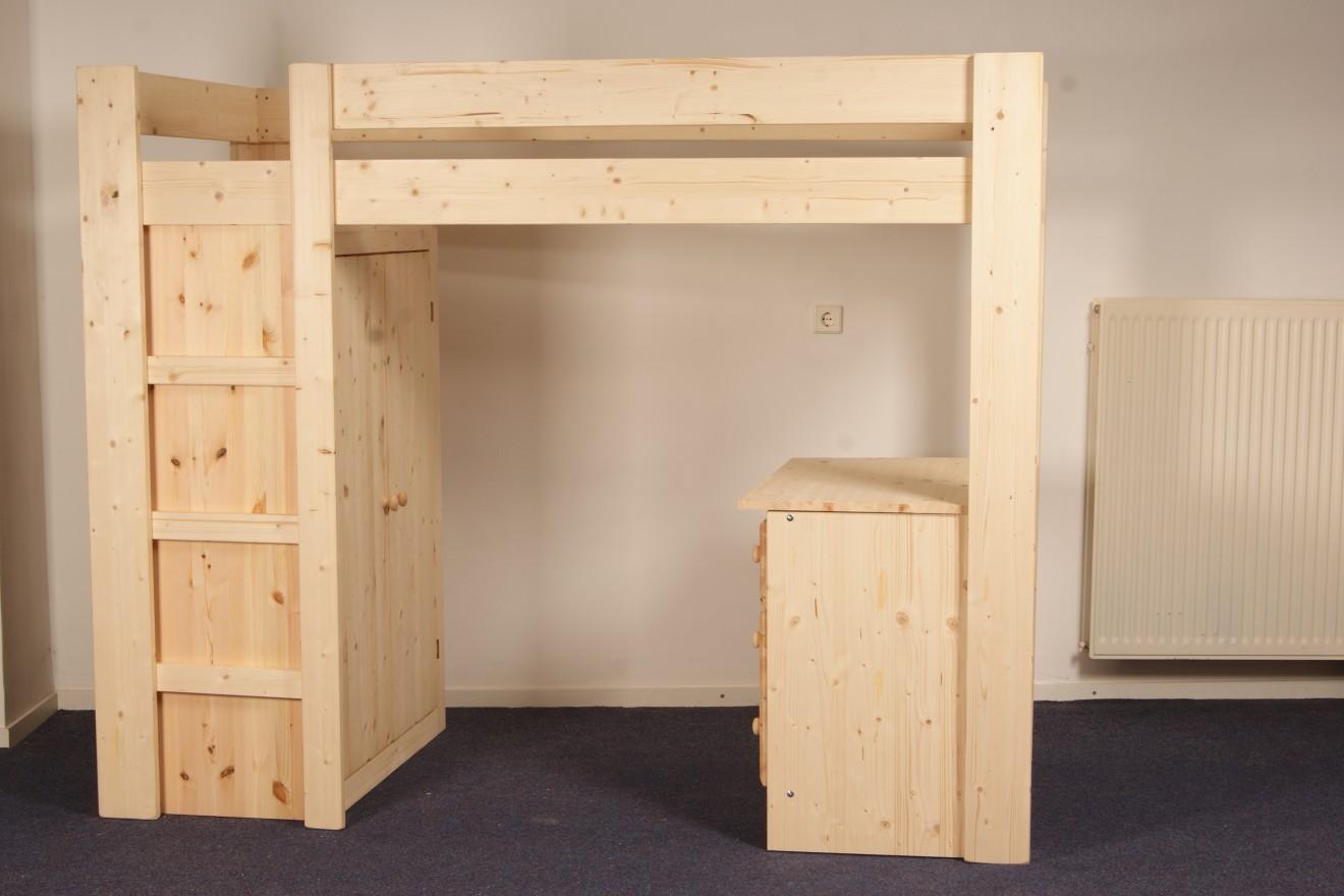 Hoogslapers   1 persoons hoogslaper/kast/bureau   blankhouten meubels
