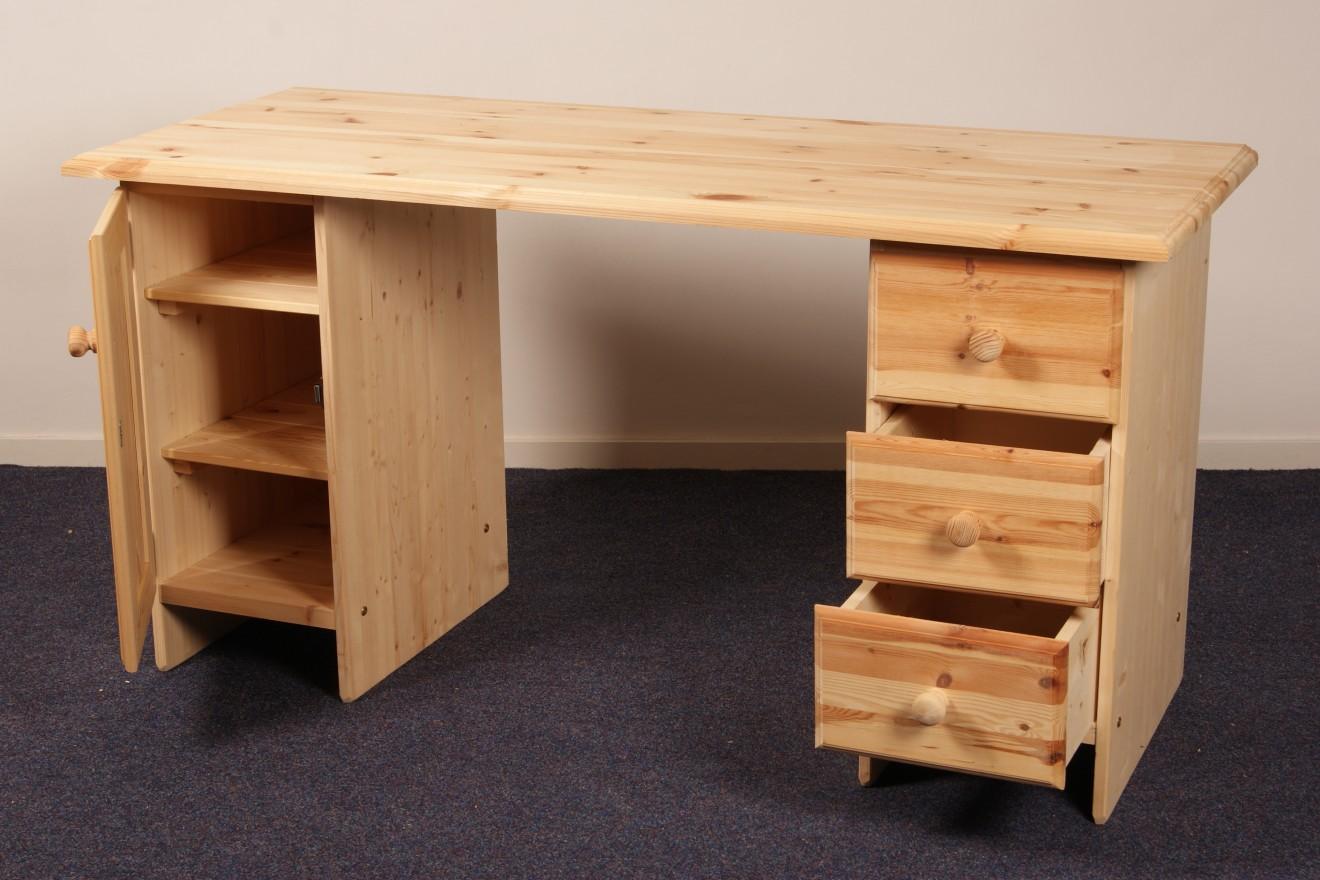 Dubbel kastje bureau kees breed blankhouten meubels for Grenen ladeblok