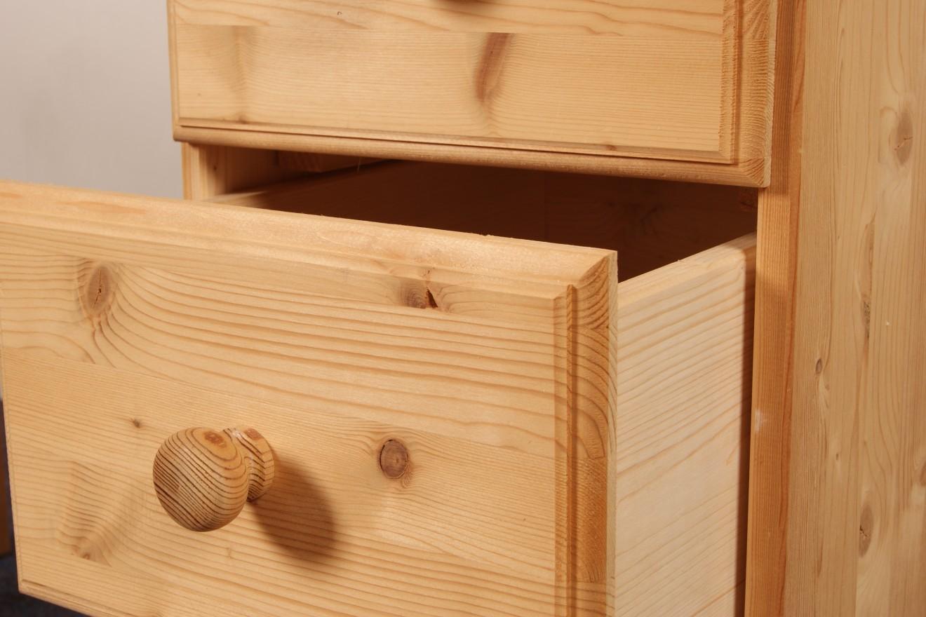Enkel kastje bureau kees laden blankhouten meubels for Grenen ladeblok