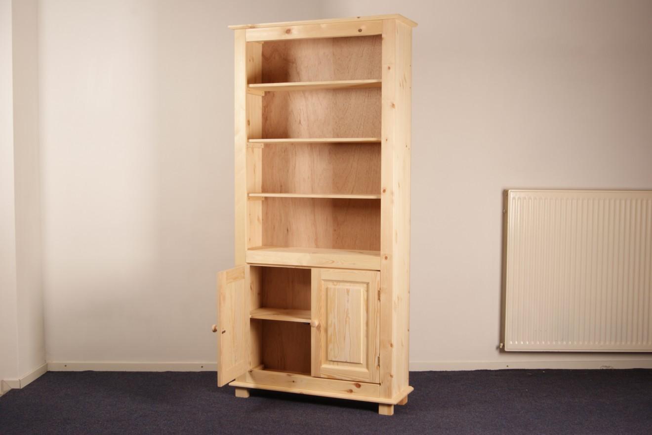 Boekenkasten - Starko 81 t/m 120cm. met 2 deuren - Blankhouten Meubels