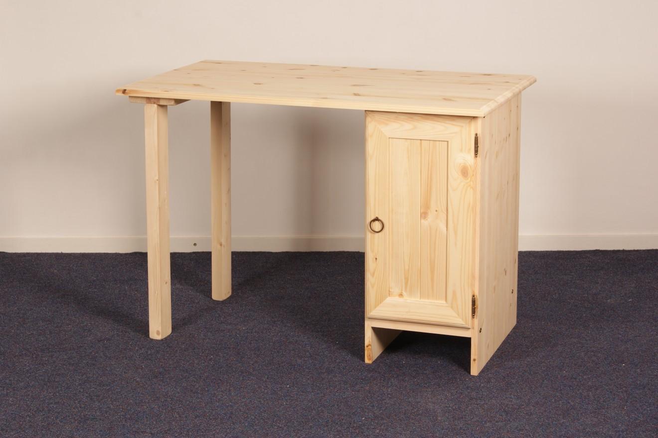 Enkel kastje bureau kees deur smal blankhouten meubels for Grenen ladeblok