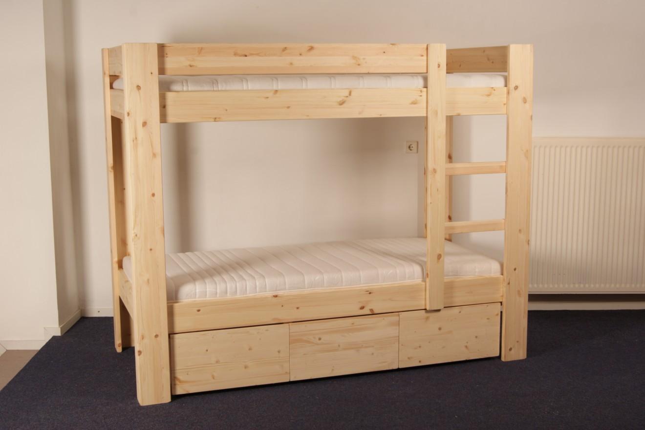Stapelbedden harry stapelbed met 3 opbergladen blankhouten meubels - Stapelbed met opslag trappen ...
