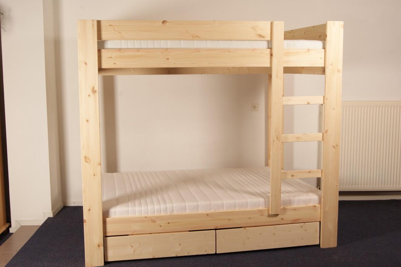 Stapelbedden persoons stapelbed met laden blankhouten meubels