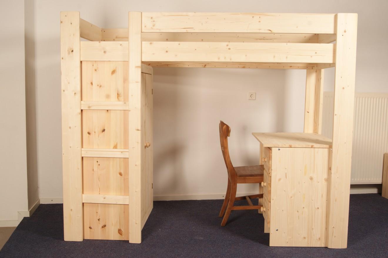 Hoogslapers 1 persoons hoogslaper met kast en bureau blankhouten meubels - Hoogslaper met geintegreerde garderobe ...