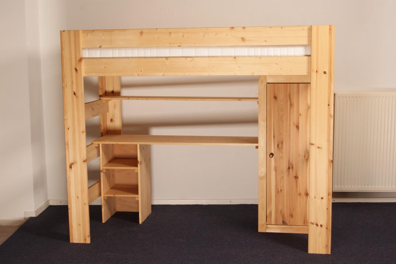 Stapelbedden hoogslapers bedden blankhouten meubels for Bureau 2 en 1